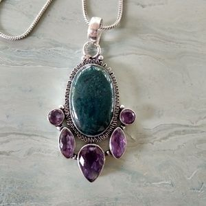 Jewelry - Moss agate amethys stamped 925 pendant necklace